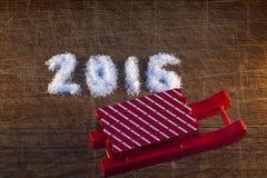Feliz Año Nuevo 2016 escrita el azúcar Imágenes de archivo libres de regalías
