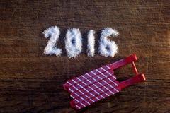 Feliz Año Nuevo 2016 escrita el azúcar Foto de archivo