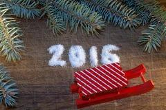 Feliz Año Nuevo 2016 escrita el azúcar Fotografía de archivo