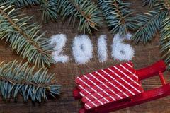 Feliz Año Nuevo 2016 escrita el azúcar Fotografía de archivo libre de regalías