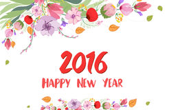 Feliz Año Nuevo 2016 Flor salvaje de la acuarela Fotografía de archivo libre de regalías