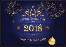 Feliz Año Nuevo 2018 - fondo azul para las tarjetas de felicitación Fotos de archivo libres de regalías