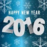Feliz Año Nuevo 2016 Fondo con los copos de nieve Fotografía de archivo