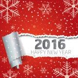 Feliz Año Nuevo 2016 Fondo con los copos de nieve y el papel rasgado Foto de archivo