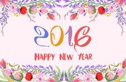 Feliz Año Nuevo 2016 Fondo de los wildflowers de la acuarela Imágenes de archivo libres de regalías