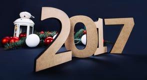Feliz Año Nuevo 2017, fondo negro Foto de archivo libre de regalías