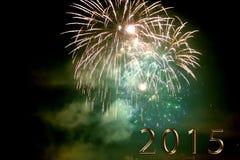 Feliz Año Nuevo 2015 - fuego artificial por noche Imagen de archivo