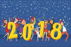 Feliz Año Nuevo 2018, gente del partido que celebra el ejemplo colorido del vector ilustración del vector