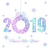 Feliz Año Nuevo 2019 Guirnalda olográfica de los números y de la Navidad aislada en un fondo blanco libre illustration