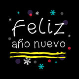 Feliz año nuevo. Happy New Year Spanish Greeting. White Typographic Vector Art. Black Background Royalty Free Stock Image