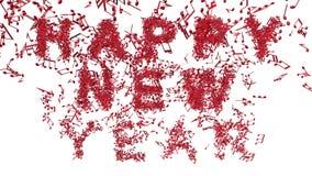 Feliz Año Nuevo hecha de notas musicales stock de ilustración