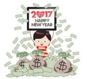 Feliz Año Nuevo 2017 Hombre de negocios acertado debajo de la lluvia del dinero Foto de archivo libre de regalías