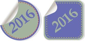 Feliz Año Nuevo 2016 - icono del web en un botón redondo Imágenes de archivo libres de regalías