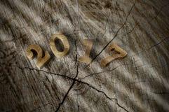 Feliz Año Nuevo 2017, idea de madera del número Fotografía de archivo libre de regalías