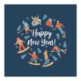 Feliz Año Nuevo Ilustración del vector Un sistema de caracteres dedicados a deportes y a la reconstrucción de invierno ilustración del vector