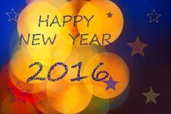 Feliz Año Nuevo ingenua 2016 de la tarjeta de felicitaciones Imagen de archivo libre de regalías
