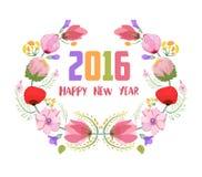 Feliz Año Nuevo 2016 La acuarela florece el marco Foto de archivo
