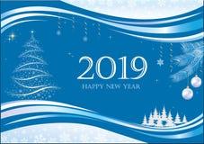 Feliz Año Nuevo 2019 La bandera del Año Nuevo con el fondo y el árbol de navidad azules stock de ilustración
