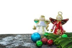 Feliz Año Nuevo, la Navidad, aislante de la Feliz Navidad en el fondo blanco Imagenes de archivo