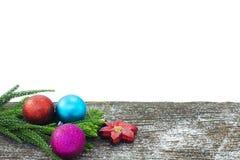 Feliz Año Nuevo, la Navidad, aislante de la Feliz Navidad en el fondo blanco Imagen de archivo