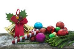 Feliz Año Nuevo, la Navidad, Feliz Navidad en el fondo blanco Foto de archivo libre de regalías