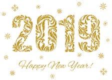 Feliz Año Nuevo 2019 Las figuras con el brillo de oro hecho en el ornamento floral aislado en un fondo blanco ilustración del vector