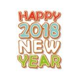 Feliz Año Nuevo 2018 Letras dibujadas mano de la galleta del pan de jengibre Fotos de archivo