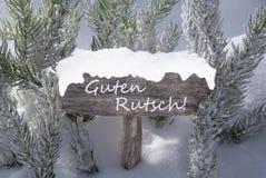 Feliz Año Nuevo mala de Guten Rutsch del árbol de abeto de la nieve de la muestra Foto de archivo