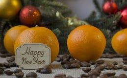 Feliz Año Nuevo, mandarina, árbol de navidad, naranja, deco de la Navidad Imágenes de archivo libres de regalías