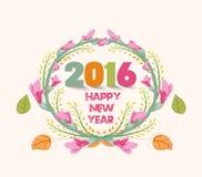 Feliz Año Nuevo 2016 Marco púrpura de las flores de la acuarela Imagen de archivo