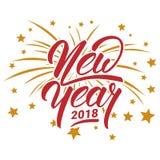 Feliz Año Nuevo 2018 Modelo de la tarjeta de felicitación Imagen de archivo libre de regalías