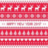 Feliz Año Nuevo 2017 - modelo rojo escandinavo del bordado Fotos de archivo