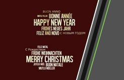 Feliz Año Nuevo multilingüe de la Feliz Navidad Foto de archivo
