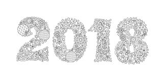 Feliz Año Nuevo número 2018 aislado en el fondo blanco Zentangle inspiró estilo Gráfico blanco y negro del zen imagen Fotografía de archivo