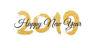 Feliz Año Nuevo 2019 Números de brillos de oro con el texto negro en un fondo blanco Arena del oro, brillos Cepillo en estilo del Foto de archivo libre de regalías