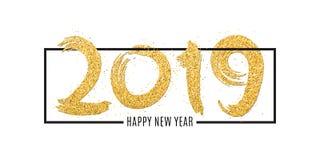 Feliz Año Nuevo 2019 Números de brillos de oro en marco en un fondo blanco Brillos del oro Mano drenada Caligrafía del oro cepill Fotografía de archivo libre de regalías