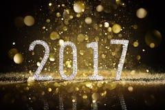 Feliz Año Nuevo 2017 - números de los diamantes Fotografía de archivo libre de regalías