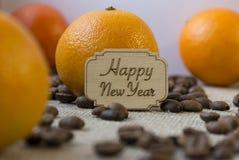 Feliz Año Nuevo, naranja, mandarina Fotografía de archivo libre de regalías