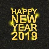Feliz Año Nuevo 2019 Navidad Texto con las lentejuelas de oro foto de archivo libre de regalías