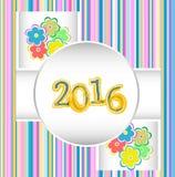 Feliz Año Nuevo 2016 Ornamental decorativo del vintage Imagenes de archivo