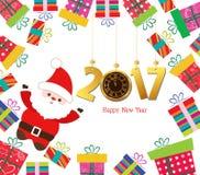 Feliz Año Nuevo Papá Noel 2017 con los regalos Foto de archivo