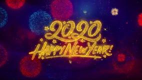 Feliz Año Nuevo 2020 2019 partículas de saludo de la chispa del texto en los fuegos artificiales coloreados