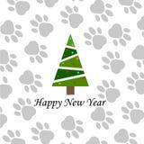 Feliz Año Nuevo 2018 Paw Print Background Ilustración del vector Fotografía de archivo libre de regalías