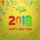 Feliz Año Nuevo 2018 Plantilla del calendario Números coloridos del papel del doblez Imagenes de archivo