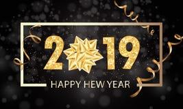 Feliz Año Nuevo plantilla del diseño de la tarjeta de felicitación de 2019 vacaciones de invierno Cartel del partido, bandera o e libre illustration