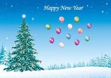 Feliz Año Nuevo 2019 Postal con el árbol de navidad festivo stock de ilustración
