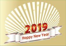 Feliz Año Nuevo 2019 Postal con la cinta decorativa de plata en el fondo de los rayos ilustración del vector