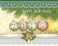 Feliz Año Nuevo 2019 Postal con la decoración de la Navidad ilustración del vector