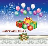 Feliz Año Nuevo 2019 Postal con los regalos y los globos libre illustration