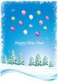 Feliz Año Nuevo 2019 Postal con un paisaje del invierno en la nieve ilustración del vector